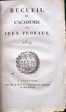 Académie des Jeux Floraux ÉDITION ORIGINALE 1eres poésies VICTOR HUGO 1818/1921