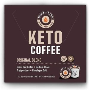 Rapid Fire Ketogenic High Performance Keto Coffee Pods, 16 ct, DATE BSB APRIL