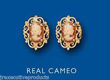 Cameo earrings Cameo Studs Real Cameo Yellow Gold Cameo Earrings