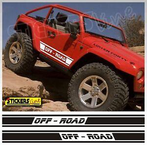2 fasce adesive OFF ROAD Adesivi fuoristrada 4X4 OFF-ROAD strisce fiancate 4 x 4