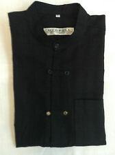 Chemise M - XL m.c. coton noir H col mao 2x5 boutons