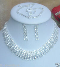 Stunning-New Diamante Necklace & Earring 4 PIECE SET Prom,wedding,costume
