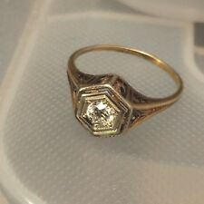 Vintage Art Deco 14K White Gold Diamond (.20ct) Ring Size 6.5