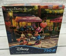 Thomas Kinkade Disney Mickey & Minnie Sweetheart Cafe 750 Piece Puzzle Complete