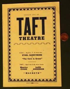 1941 Cincinnati Ohio Taft Theatre Ethel Barrymore program- Covington Kentucky!