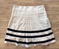 Ann Taylor LOFT Natural Tan Cotton w/ Black Grosgrain Ribbon Full Skirt - Size 8