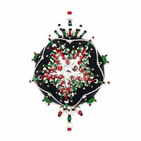 Kwanzaa Satin Beaded Sequin Push Pin Christmas Ornament Silver Green Red Sparkle