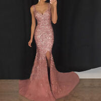 Women Sequin Mermaid Prom Dress Bodycon Long Maxi Dresses Evening Party Cocktail