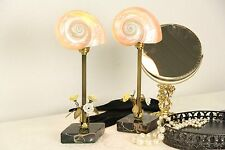Pair of Marble & Nautilus Sea Shell Vintage Boudoir Lamps