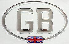 GB Mirror Chrome Gel Domed CAR STICKER with Union Jack 150mm X 100mm