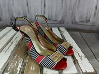 Tommy Hilfiger womens shoes sandals toe slip heel strap slingbacks peek wedge 8