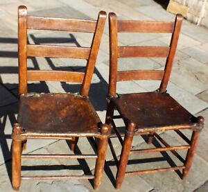 Antique Ladder Back Pair of Chairs Elk Hide Seat Primitive Shaker Chair