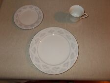 Silverie Saphire Fine China Service for 4 Dinner Plate, Cup, and Dessert Plate