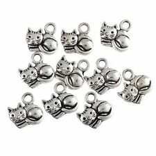 10PCS Retro Animal Cute Cat Tibetan Silver Charms Pendant Beads 1.4*1.5cm