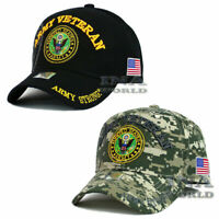 U.S. ARMY Hat ARMY VETERAN Military Licensed Flag Baseball Cap- Black/ ACU Camo