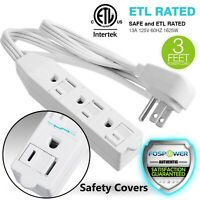 3 Outlet Wall Tap Power Strip Adapter Flat Plug Safety Cover Extension Cord 3FT
