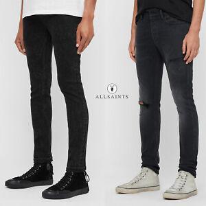 All Saints Mens Skinny Jeans Stretch Denim Distressed Black Designer in 2 Styles