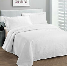 King Size 3 pc Solid  Embossed bedspread Bed Cover New Over size WHITE