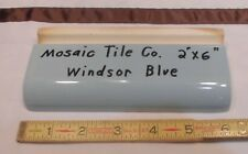 "1 pc. Vintage *Windsor Blue* 2"" X 6"" Bullnose Ceramic Radius by Mosaic Tile Co."