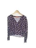 TIGERLILY Size 6 Purple Floral Boho V-Neck Long Sleeve Cropped Blouse Relaxed