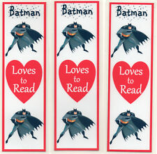 3 CHILDRENS BOOKMARKS,BATMAN LOVES TO READ.18cm x5cm laminated