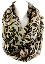 B128 Eternity Leopard Brown Black Animal Gold Metallic Glitter Infinity Scarf