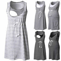 Women Summer Pregnancy Maternity Casual Striped Tunic Nursing Sleeveless Dress E