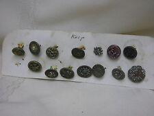 "14 Vintage Ornate Buttons Metal Average 1/2"" Flower Star Cut Metal Buttons"