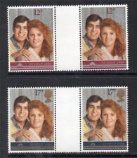 GB MNH 1986 SG1333-1334 ROYAL WEDDING GUTTER PAIRS
