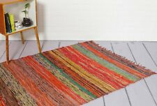 Hand Made Bohemian Braided Cotton Area Rug in Multi Brown Color Chindi 5X7 FEET