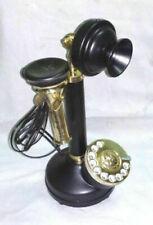 Antique Brass American Landline Telephone Rotary Dial Candlestick Telephone