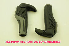 PAIR HERRMANS ENDORFIN LOCK ON BIKE HANDLEBAR GRIPS BLACK & GREY SALE 70% OFF