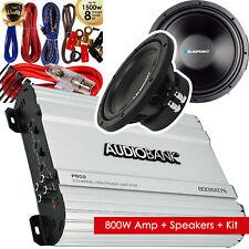 Audiobank 800W Bridgedable Amplifier + 2x Blaupunkt 800W Subwoofer + 8 GA Kit