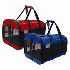 1x Blue PET CARRIER COLLAPSIBLE FOLD AWAY,CAT,SMALL DOG,RABBIT CARRIERS TRAVEL.n