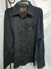 Rebel Spirit Mens 2XL Black Embroidered LS Button Down Shirt