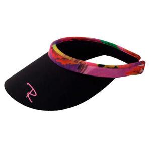 New Radicool Women's Black Rosella Print Visor Hat / Broad Brim Hat