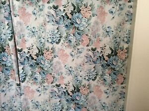French Country Floral Drapes 4 Panels 3 Valances Blue Green Pink Cabbage Roses
