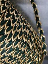 5-YARD Antique/Vtg CORD BRAID-TRIM: GREEN&METALLIC GOLD Fabric: Edging/Millinery