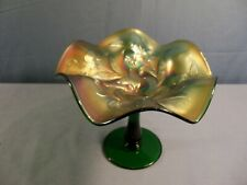 "Vintage Fenton Green Carnival Glass Iris Compote 5 3/8"" Tall"