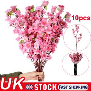 10X Artificial Cherry Spring Plum Peach Blossom Branch Fake Flower Home Decor
