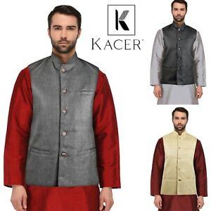 Men's Indian Ethnic Jute Nehru Waistcoat Modi Jacket Pakistani koti MJ900