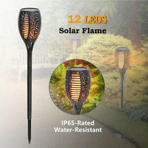 4PCS 12 LED Solar Torch Flickering Flame Light Garden Outdoor Waterproof Lamps