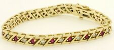 "Heavy 14K gold amazing 4.32CTW diamond & ruby ""Z"" link bracelet"