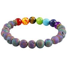 Rainbow Titanium Coated Druzy Agate Geode 7 Chakra Beads Stone Bracelet Bangle
