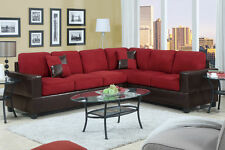 Sectional Sofa & Loveseat Wedge 2 Pc Living room Set Red Microfiber Cushion Seat