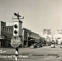 Vintage 1950 Hollywood Street NBC Corner of Hollywood & Vine RPPC Traffic Light