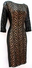 Anne Klein black lace lined stretch fabric cocktail semi formal elegant dress 4P