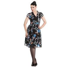 Hell Bunny Starry Night Floral Bird 1940s Retro Rockabilly Vintage Tea Dress