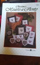 Vtg Mill Hill Hearts A Plenty miniature counted cross stitch chart