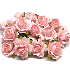 Pale Pink Tattered Mulberry Paper Roses Card Making Craft Flowers Tr020